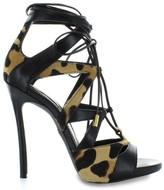 DSQUARED2 Tie Me Up Black Animalier Sandal