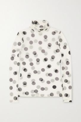 Dries Van Noten Polka-dot Stretch-mesh Turtleneck Top - White