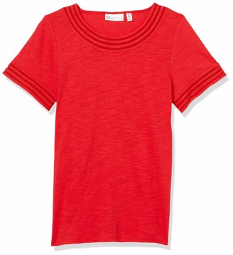 Rafaella Women's Solid Slub Short Sleeve Tee Shirt with Lattice Trim