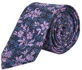 Burton Mens Blue, Black and Purple Textured Floral Tie