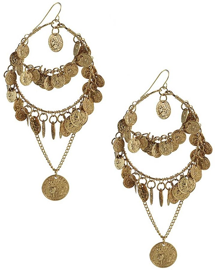 Forever 21 Coin Charm Dangle Earrings I