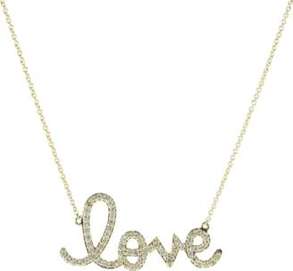 Sydney Evan Large Diamond Pave Love Script Necklace
