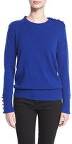 Burberry Button-Trim Crewneck Sweater, Bright Navy