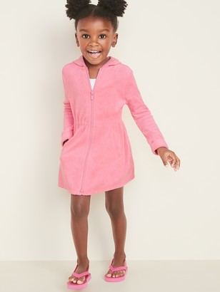 Old Navy Hooded Loop-Terry Zip-Front Swim Cover-Up Dress for Toddler Girls