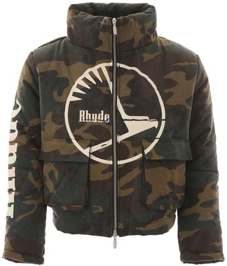 Rhude Camouflage Print Puffer Jacket