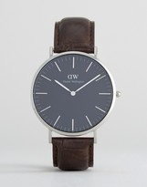 Daniel Wellington Classic Black York Leather Watch With Silver Dial 40mm