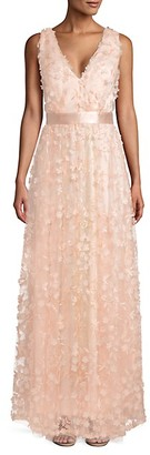 Laundry by Shelli Segal Textured Floral Gown