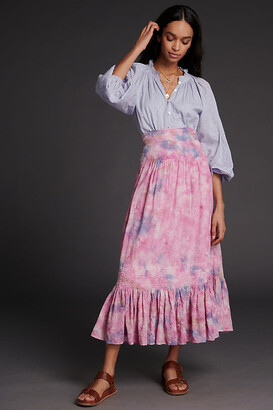 Anthropologie Odessa Tie-Dye Maxi Skirt By in Pink Size XS