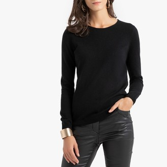 Anne Weyburn Cashmere Ribbed Jumper with Crew Neck