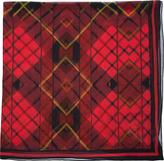 McQ by Alexander McQueen Red Silk Tartan Print Scarf