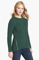 MICHAEL Michael Kors Side Zip Cable Knit Sweater