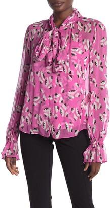 Diane von Furstenberg Tina Silk Tie Neck Patterned Blouse