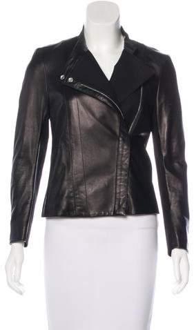 The Row Leather Asymmetrical Jacket