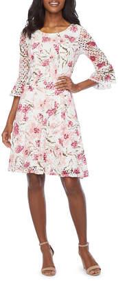 Rabbit Rabbit Rabbit Design 3/4 Bell Sleeve Floral Lace Fit & Flare Dress