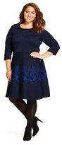 Melonie T Women's Plus Size Elbow Sleeve A-Line Dress Blue