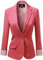 Awesome21 Solid Boyfriend Look Stripe Lining Blazers Coral Size M