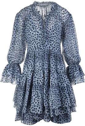 Ermanno Scervino Blue Animal Print Short Dress