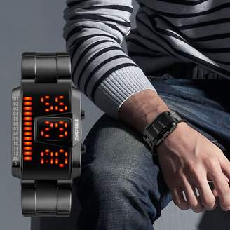 Luckyfine Digital Watches Fashion Casual Sports Watch LED Display 50M waterproof Alloy Strap Man Wristwatches