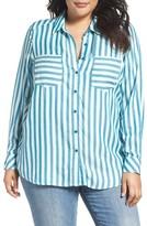 Melissa McCarthy Plus Size Women's Stripe Shirred Back Top