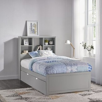 Harriet Bee Body Caspian Twin Mate's & Captain's Bed with Trundle and Bookcase Bed Frame Color: Gray
