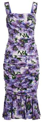 Dolce & Gabbana Floral Ruched Detail Dress