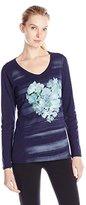Hanes Women's Long-Sleeve V-Neck Graphic T-Shirt