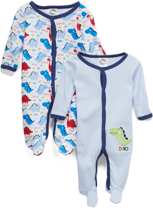 Sweet & Soft Boys' Footies Light - Light Blue, Navy & Red 'Dino' Footie Set - Newborn & Infant