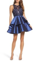 Sean Collection Women's Lace Bodice Tiered Mikado Fit & Flare Dress