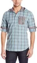 Buffalo David Bitton Men's Sawcrown Long Sleeve Hooded Popover Woven Shirt