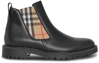 Burberry Vintage Check Detail Leather Chelsea Boots