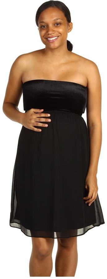 Maternal America Maternity Strapless Velvet Chiffon Dress (Black) - Apparel