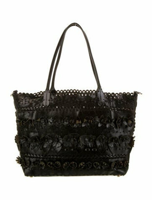 Valentino Floral-Accented Laser Cut Tote Black