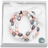 Honora Style Set of Three 8MM-9MM Baroque Pearl Pink Tuxedo Stretch Bracelets