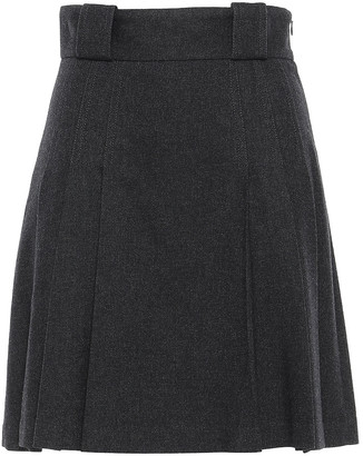 RED Valentino Flared Pleated Flannel Mini Skirt