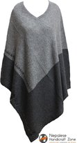 NHZ 100% Cashmere Poncho - Natural Color Pure Himalayan Cashmere - Hand Made in Nepal