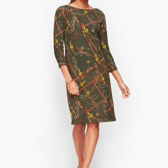 Talbots Cotton Equestrian Print Shift Dress