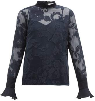 See by Chloe Floral-lace Mesh Blouse - Womens - Navy
