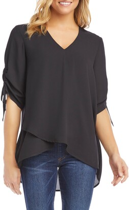 Karen Kane Ruched Sleeve Asymmetrical Blouse