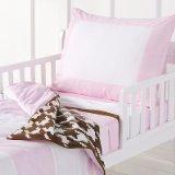 Bacati Metro Pink/White/Chocolate 4 Piece Toddler Bedding Set