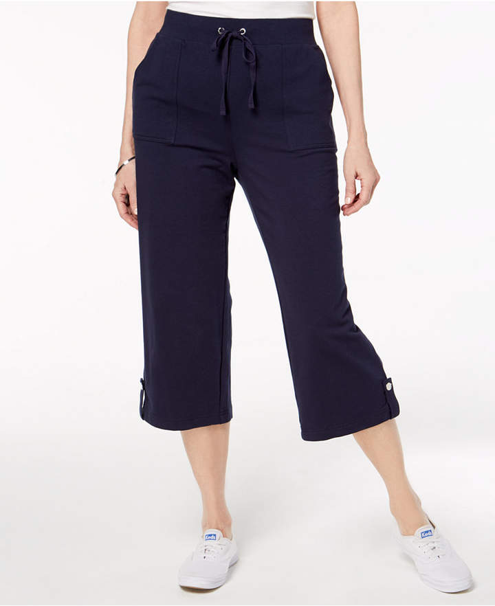 Karen Scott French Terry Drawstring Capri Pants