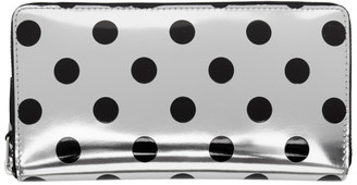 Comme des Garçons Wallets Silver and Black Polka Dot Continental Zip Wallet
