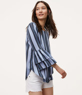 LOFT Ocean Stripe Tiered Bell Sleeve Top