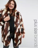 Elvi Patchwork Faux Fur Coat