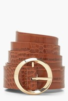 Thumbnail for your product : boohoo Croc Circle Buckle Belt