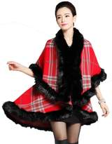 D-Sun Women Fox Fur Plaid Cardigan Shawl Pashmina Cloak with Wool Collar