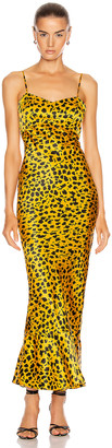 Saloni Mimi-B Dress in Gold Camo Leopard | FWRD