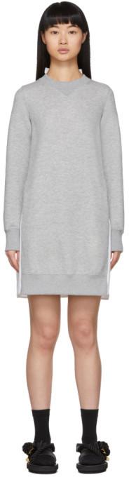 Sacai Grey Sponge Sweat Dress