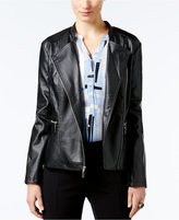 Alfani Faux-Leather Zip-Front Moto Jacket, Only at Macy's