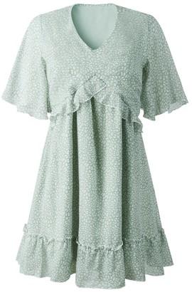 Goodnight Macaroon 'Mariposa' Leopard Print Ruffled Mini Dress