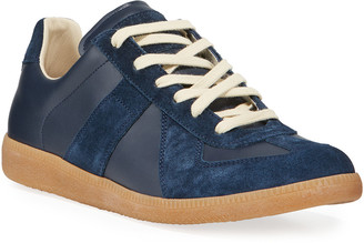 Maison Margiela Men's Replica Suede & Leather Low-Top Sneakers